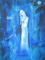 Göttin der liebenden Tiefe  70 x 50 cm  (blau) LEINWANDDRUCK