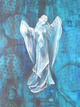 Göttin die aus ihrem Mitgefühl die Liebe verschenkt 70 x 50 cm  (blau) LEINWANDDRUCK