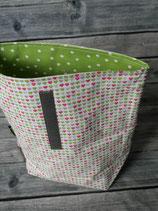 Lunchbag gross - Herz/Pink-Hellgrün