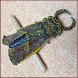 Haarspange Motte klein, Dunkelrot mit gelben Details