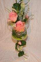 Blüten im Glaskelch (Seide)