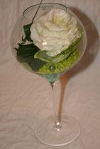 Rose im Stielglas (echt)