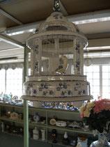 cage  decor fleur bleu