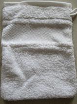Badstof washandje wit met borduurrand