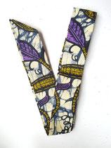 Bandeau Wax marbré bleu, feuilles kaki/violet