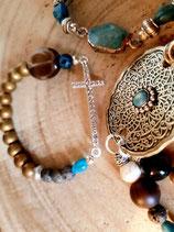 Bracelet mordoré et bleu avec grande croix strassée