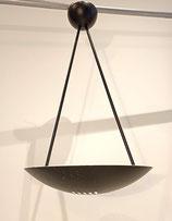 Grande Suspension lustre industriel vintage métal noir forme soucoupe