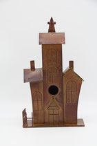 Vogelhaus Villa mit Turm für die Wand rostbraun
