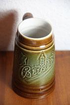 Bierkrug Bembel braun grün Budvar
