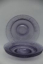 3er Set Glasdessertteller lilablau Streifen