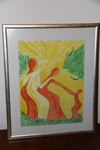 Bild Tempera gearahmt 40x50cm Familie handgemalt orange gelb