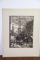 Holzschnitt Ritter 1919 Original Berliner Gedächtniskirche