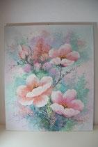 Acrylbild rosa Pfirsichblüten 52x62cm