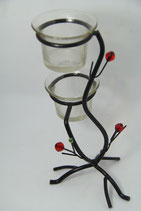 schwarzer Teelichtständer Metallbaum mit roten Perlen für zwei Teelichter