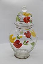 großes handbemaltes Bonbonglas Glas mit Deckel Vorratsglas  Blumen