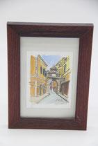 Kunstdruck Aquarell Stadtmotiv in rotbraunem Holzrahmen mit Glas 12x18cm