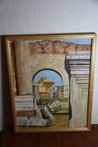 Original Acrylbild Ruinen Stadt Kirche Kroatien Bulgarien gerahmt