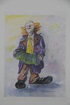 """Farbdruck von Aquarell """"Clown mit Akkordeon"""" Charlotte Schwenker 1994 Kunstdruck"""