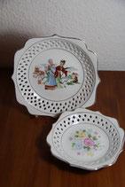 Furnishing Porcelainwares China Teller durchbrochener Rand Blumen asiatische Personen