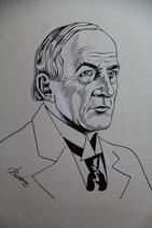 Original Zeichnung Mann schwarz weiß 1945