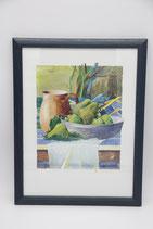 Kunstdruck Küchenmotiv Aquarell in blauem Holzrahmen 30x40cm