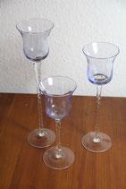 3er Set Teelichtständer Glas blau gedrehter Stiel OVP