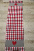 Tischläufer rot weiß kariert mit Herzen klassisch bayerisch