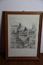 Zeichnung mit Häusern Original gerahmt