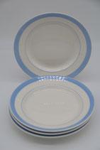 4er Set cremeweiße tiefe Teller Suppenteller Keramik mit blauen Rand
