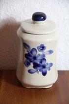Dose blau cremeweiß mit Blumenmotiv