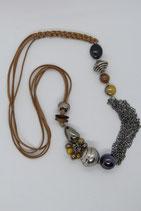 mehrreihige Lederkette große Perlen beige silber naturtöne