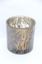 großes Glaswindlicht braun mattes Glas Zweige
