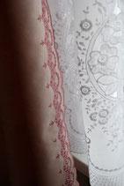 Vorhang Seitenschal altrose Blumenmuster Stickerei