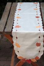 Läufer Tischläufer Herbstblätter beige Blätter Tischdecke Spitze