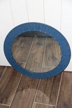 runder Spiegel 60er 70er Jahre blauer Kunstlederrahmen Wandspiegel