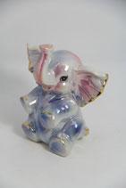 Perlmutt glänzend rosa blau Tierfigur Elefant