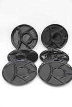 6er Set Fondue Raclette Antipasti Teller Unterteilung schwarz