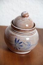 kleine Keramikdosen braun blau handgetöpfert handbemalt Fajans Zuckerdose