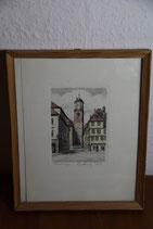 colorierter Zeichnung Memmingen Martin Turm Reiter gerahmt