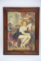 "VEB Kunstdruckveredlung ""Dame im Bade"" barbusig in Holzoptikrahmen 26x34,5cm"