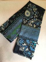 Echarpe laine, tons vert et bleu