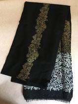 Echarpe laine fine noire, motifs argent et doré