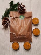 """4er Set Teelichter """"Weihnachten"""" aus 100% Bienenwachs"""