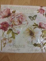 """Serviette """"Marché aux fleurs"""", 33x33"""