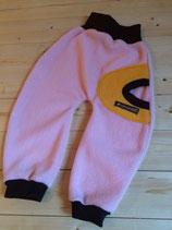Polarfleecehose rosa/gelb
