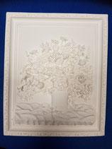 Cuadro de escayola 29x24 cm en relieve el marco y las flores