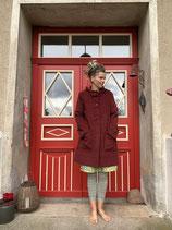 Froeken Frida -Kapuzen Fleece Mantel, weinrot