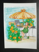 """Postkarte aus der Serie """"Die kleine Madame reist"""" Motiv 50"""