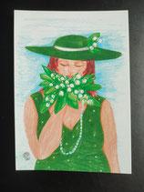 """Postkarte aus der Serie """"Die kleine Madame reist"""" Motiv 150"""