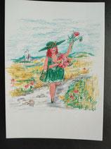 """Postkarte aus der Serie """"Die kleine Madame reist"""" Motiv 160"""